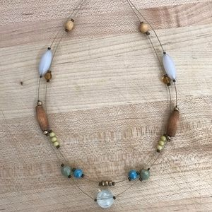 Jewelry - Double Strand Necklace with Glass and Wood Beads